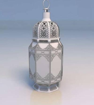 东南亚白色铁艺花园灯3D模型【ID:615019803】