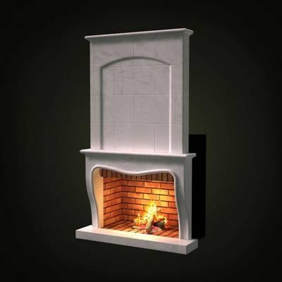 白色大理石壁炉3D模型【ID:615036655】