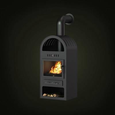 黑色铁艺壁炉3D模型【ID:615036772】