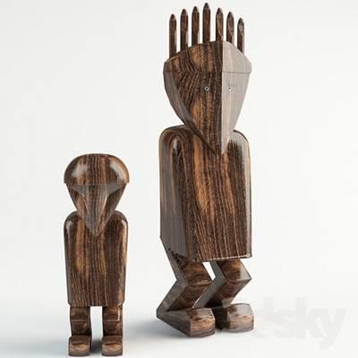 原木色木艺非洲工艺品3D模型【ID:615071948】