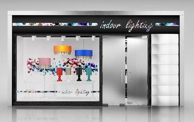 现代灰色灯具专卖店3D模型【ID:615077226】