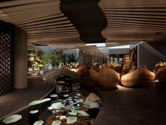 新中式景观水池3D模型【ID:615091798】