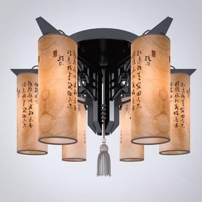 新中式黑色木艺吸顶灯3D模型【ID:615182001】