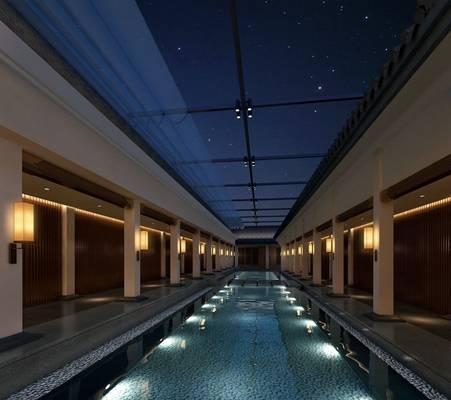 禅意中式景观水池3D模型【ID:615185774】