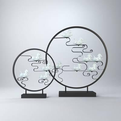 白色圆形陶艺工艺品3D模型【ID:615196618】