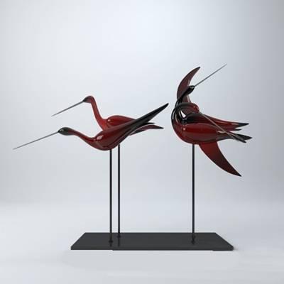 红色玻璃工艺品3D模型【ID:615196632】