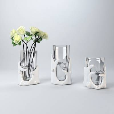 白色圆柱形陶艺花瓶3D模型【ID:615196819】