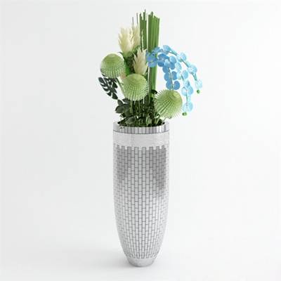 银色陶艺花瓶3D模型【ID:615218880】