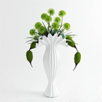白色陶艺花瓶3D模型【ID:615218882】
