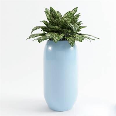 蓝色圆柱形陶艺花瓶3D模型【ID:615222826】