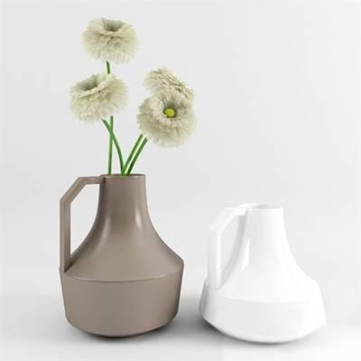 棕色陶艺花瓶3D模型【ID:615226848】