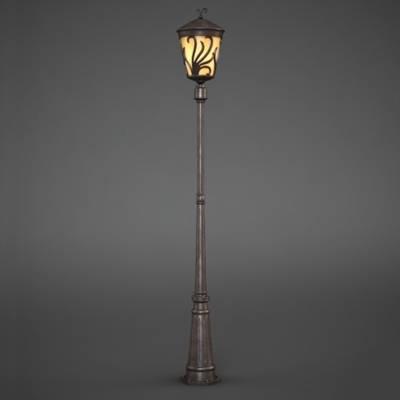 欧式简约棕色金属花园灯3D模型【ID:615255874】