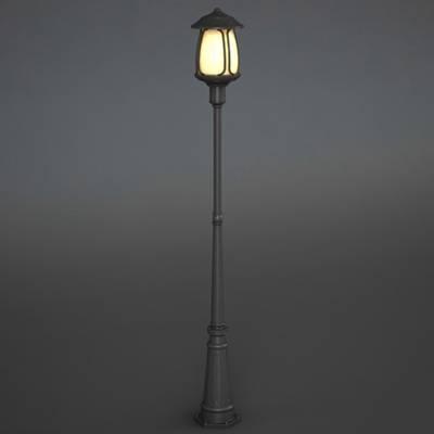 现代灰色金属花园灯3D模型【ID:615256806】