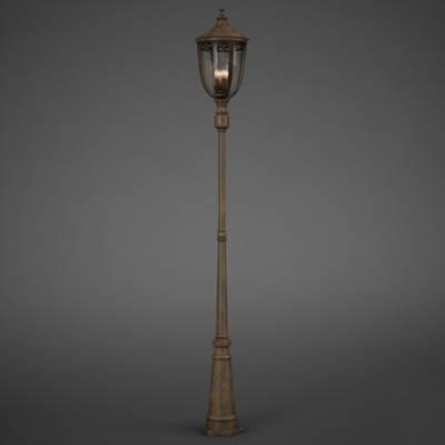 欧式古典棕色金属花园灯3D模型【ID:615256895】