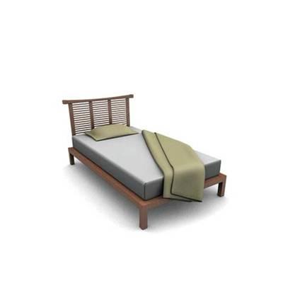 现代棕色木艺单人床3D模型【ID:615289973】