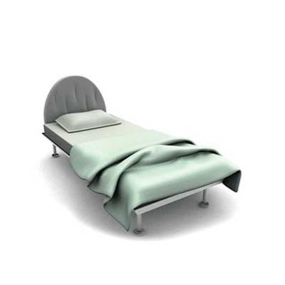 现代灰色布艺单人床3D模型【ID:615290932】