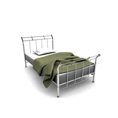 现代白色铁艺单人床3D模型【ID:615290950】