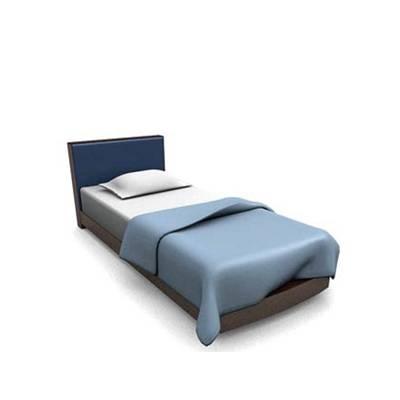 现代蓝色木艺单人床3D模型【ID:615290990】