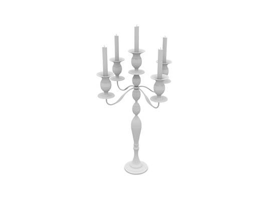 现代白模烛台灯3D模型【ID:615358360】