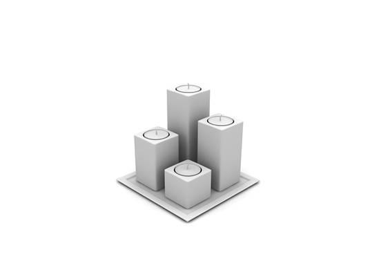 现代白模烛台灯3D模型【ID:615358368】
