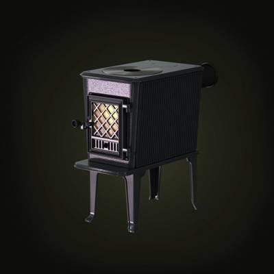 黑色铁艺壁炉3D模型【ID:615426782】