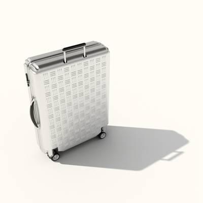 银色塑料行李箱3D模型【ID:615430075】