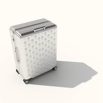 银色塑料行李箱3D模型【ID:615430076】