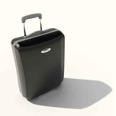 黑色塑料行李箱3D模型【ID:615430095】