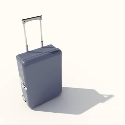 蓝色塑料行李箱3D模型【ID:615430098】