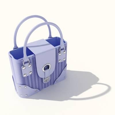 蓝色塑料手提包3D模型【ID:615430133】