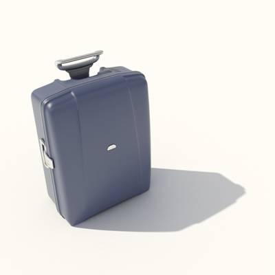 蓝色塑料行李箱3D模型【ID:615431001】
