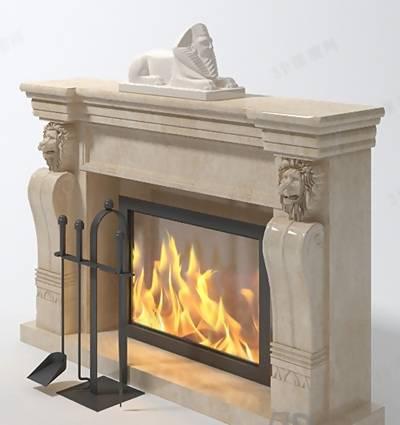 大理石壁炉313D模型【ID:616921634】