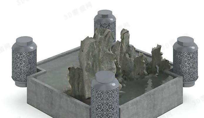 景观水池23D模型【ID:617124787】