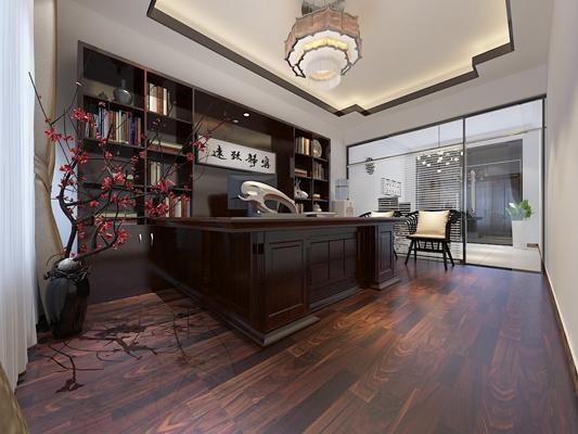 新中式棕色木艺办公桌3D模型【ID:617465669】