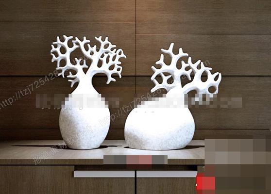 白色陶艺工艺品3D模型【ID:617468678】