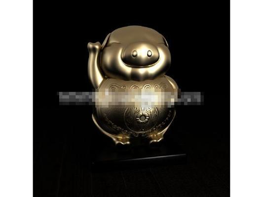 金色金属储物罐3D模型【ID:617538460】