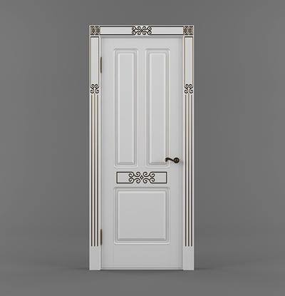 现代白色木艺单开门3D模型【ID:617558793】