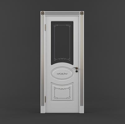 现代白色木艺单开门3D模型【ID:617559787】
