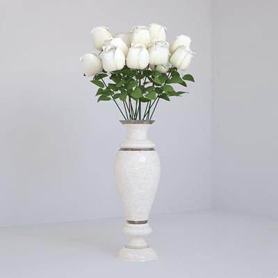 白色陶艺花瓶3D模型【ID:617562875】