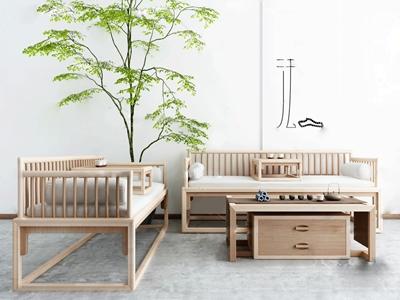 新中式实木沙发组合3D模型【ID:650468703】