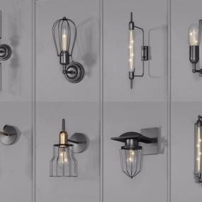 工业风壁灯组合3D模型【ID:528288922】