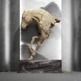 现代积木抽象马雕塑3D模型【ID:331400850】