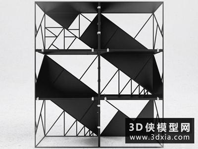 現代裝飾柜國外3D模型【ID:829431004】