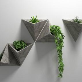 北欧绿植墙饰挂件3D模型【ID:228425218】