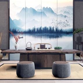新中式茶室茶臺凳屏風組合3D模型【ID:328254707】