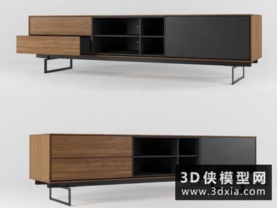 现代电视柜国外3D模型【ID:829607071】
