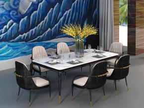 現代實木餐桌椅餐具組合3D模型【ID:327786419】
