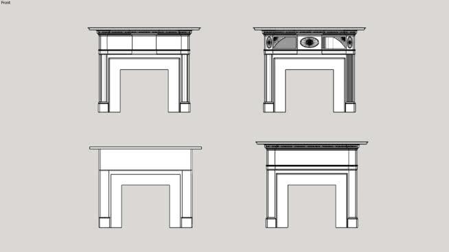 古典壁炉壁炉库1SU模型【ID:939820597】
