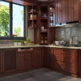 新中式厨房3d模型【ID:128414491】