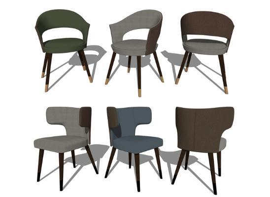 现代休闲椅子组合SU模型【ID:948073471】